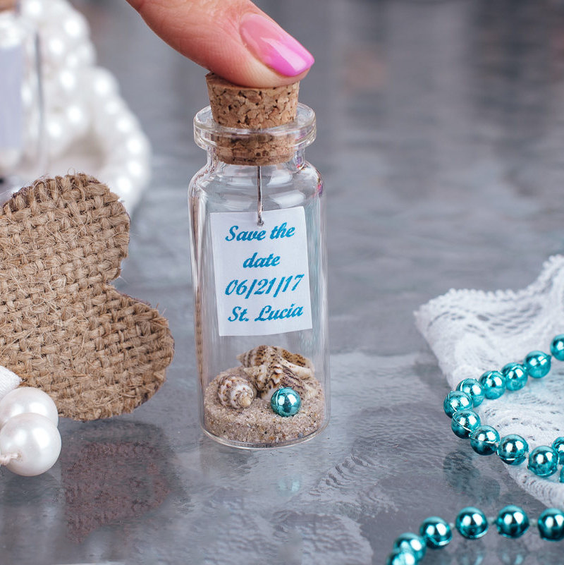Gifts For Guests Beach Wedding: Message In A Bottle Save The Date