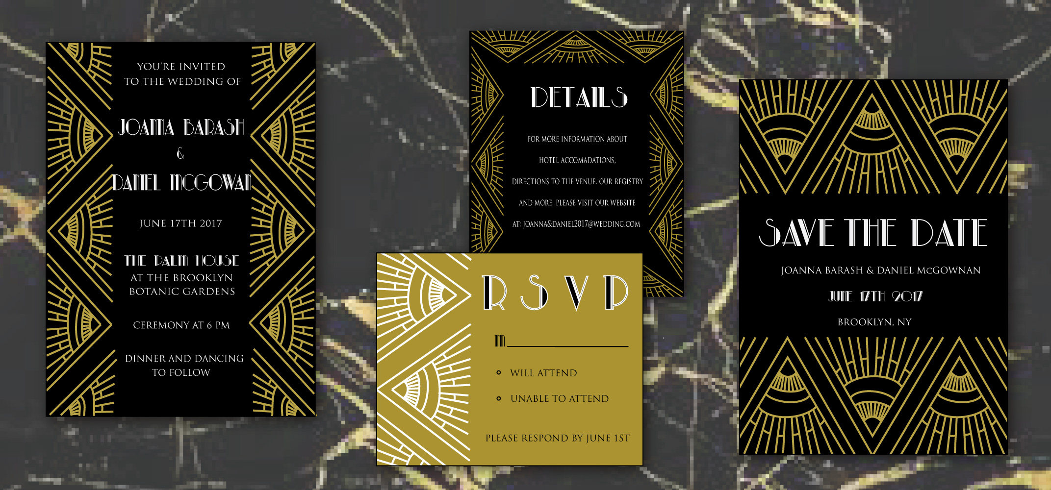 gatsby wedding invitation by words of love