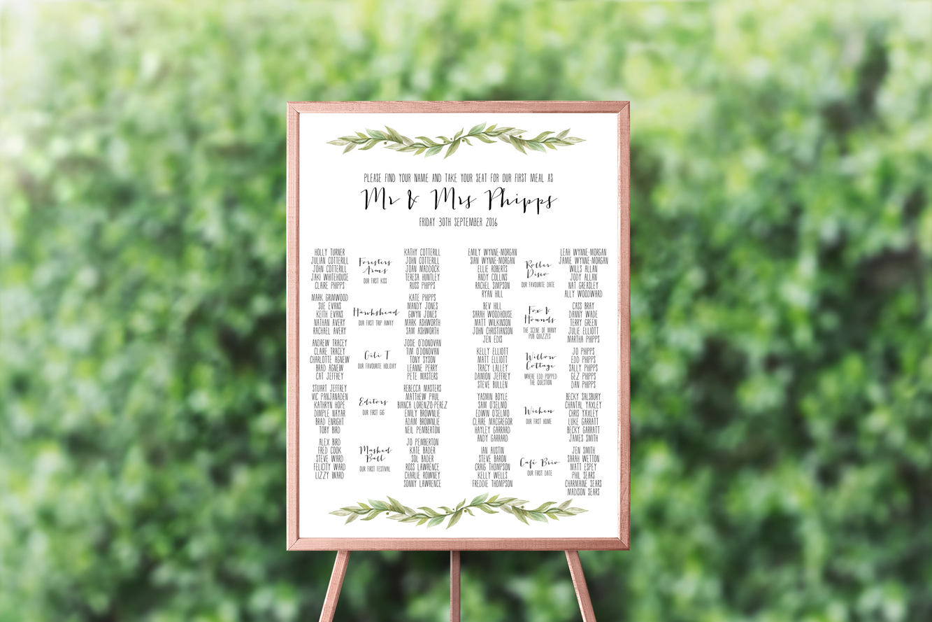 printable seating chart for weddings by creationery