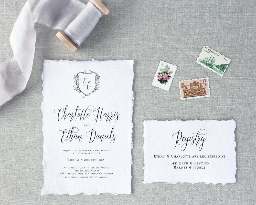 black and white wedding invitations by nostalgic imprints