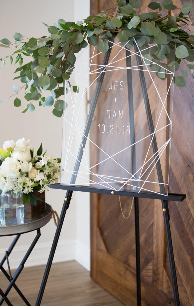 clear wedding sign