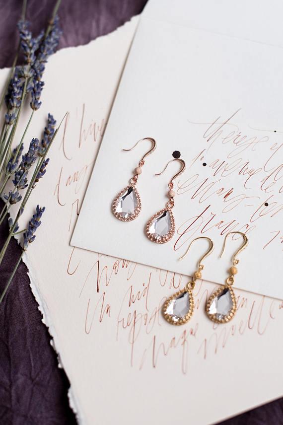 teardrop bridal earrings