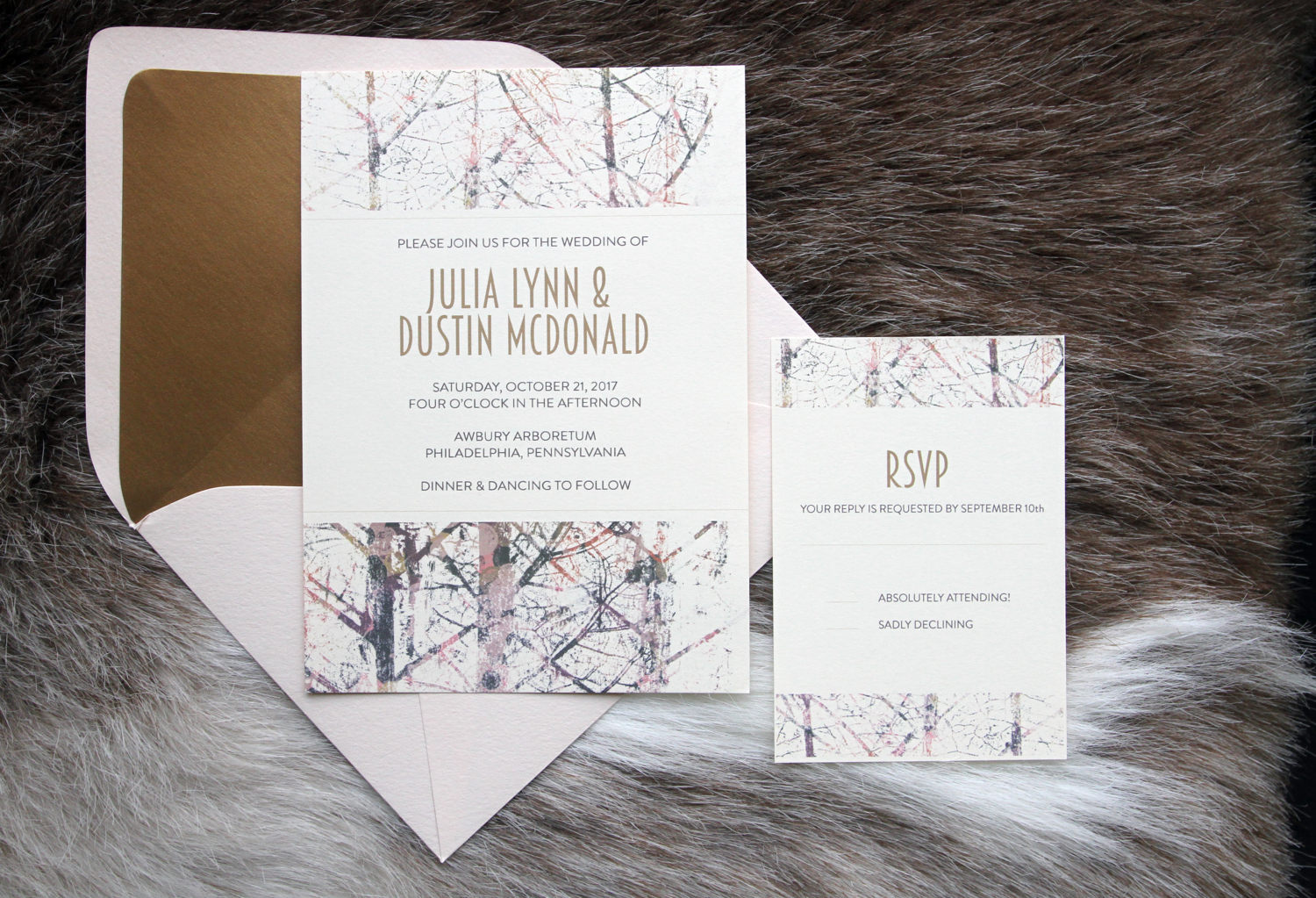 tree branch wedding invitations