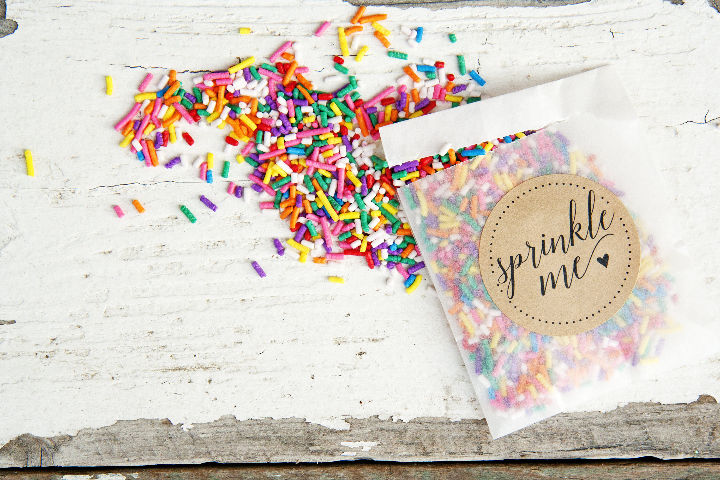 wedding confetti rainbow sprinkles bags by mavora