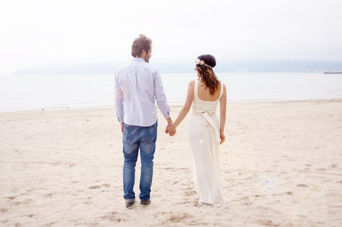 beach wedding dress in ivory