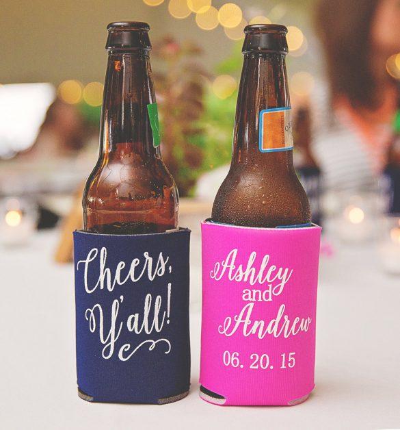 wedding koozies - can cooler favors