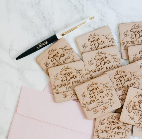 wood engraved magnet save the dates
