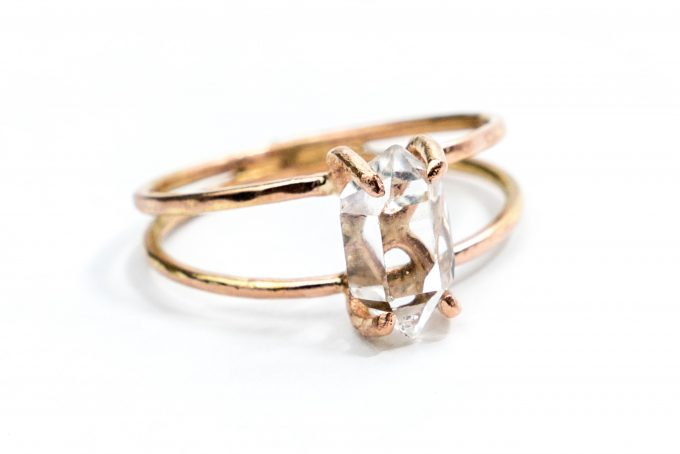 herkimer diamond engagement ring via https://etsy.me/2LHRmmL