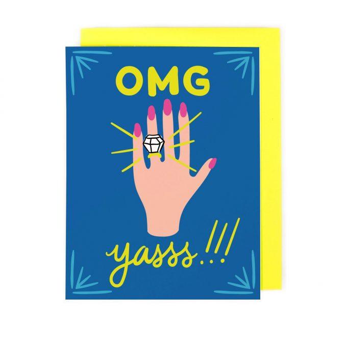 omg yasss engagement card