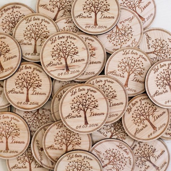 wood engraved magnet save the date