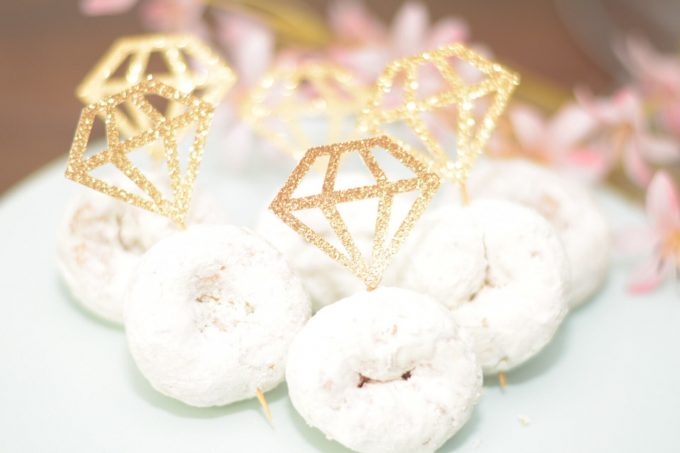 personalized champagne flutes and donut rings