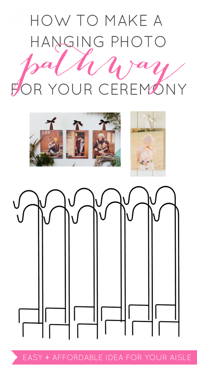 How to make a Beautiful Hanging Photo Display for Outdoor Wedding Ceremony