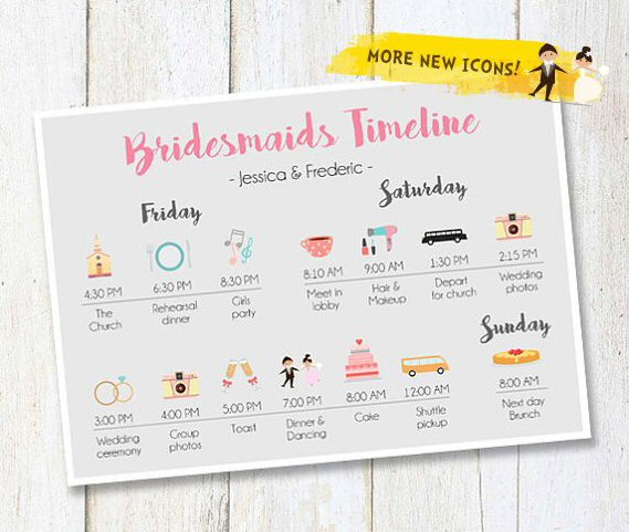 bridesmaids wedding timeline