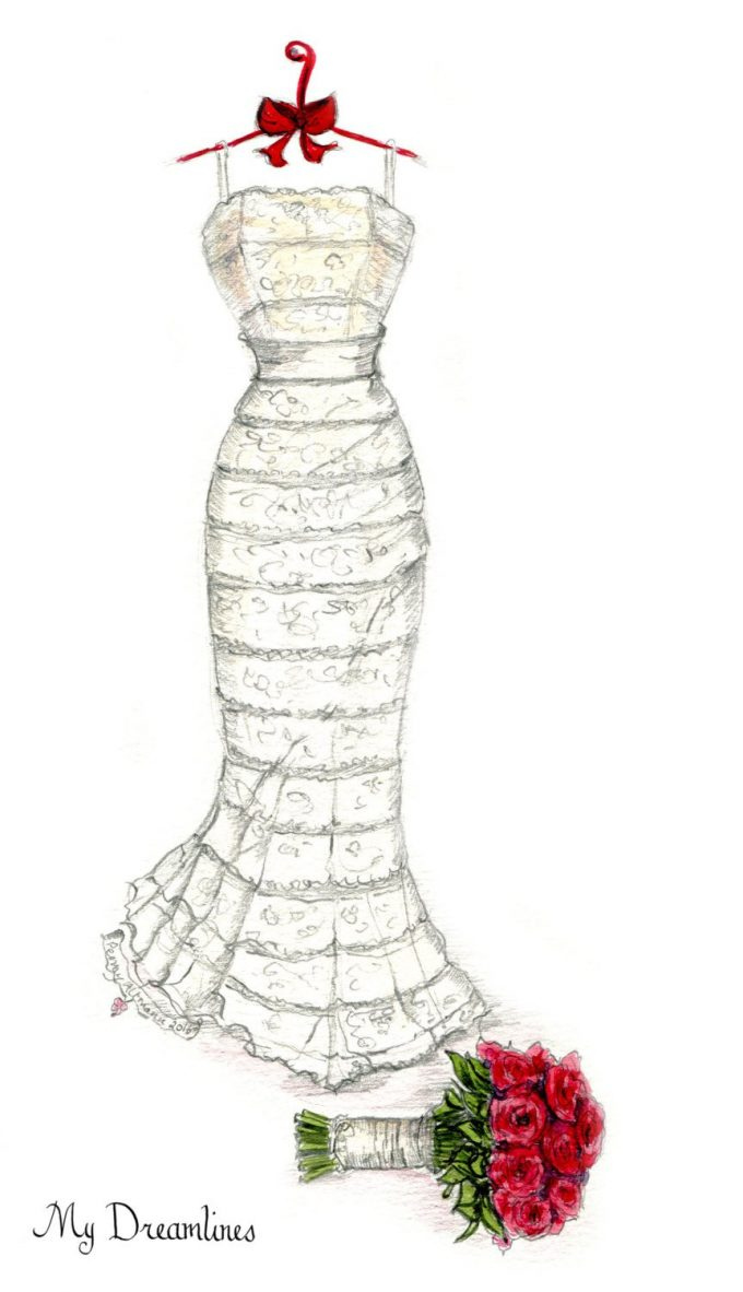 wedding dress sketch gift by mydreamlines