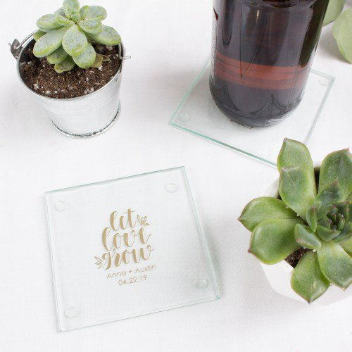 wedding favors ideas - glass wedding coasters via http://shrsl.com/153tx