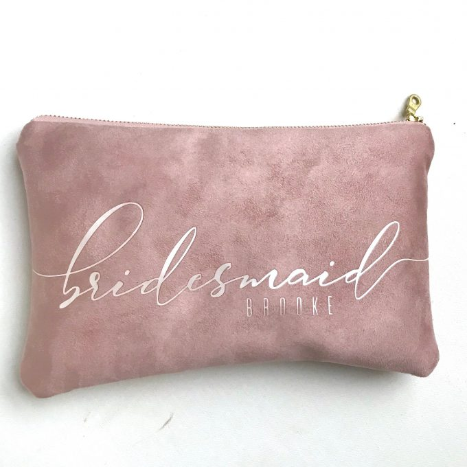 suede bridesmaid clutches
