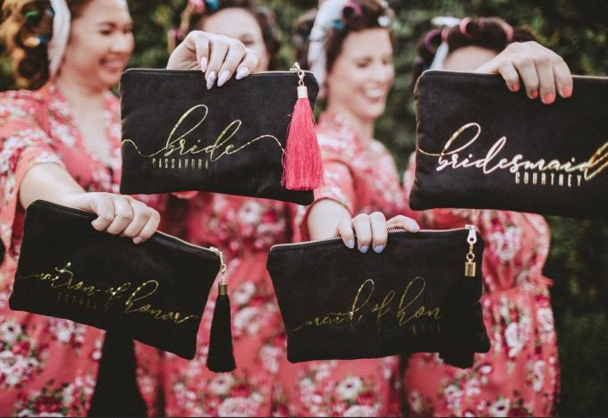 bridesmaid bags by sandra smith, photo by allison claire photography