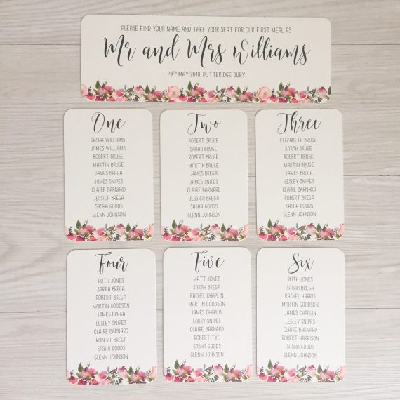 wedding seating plan cards