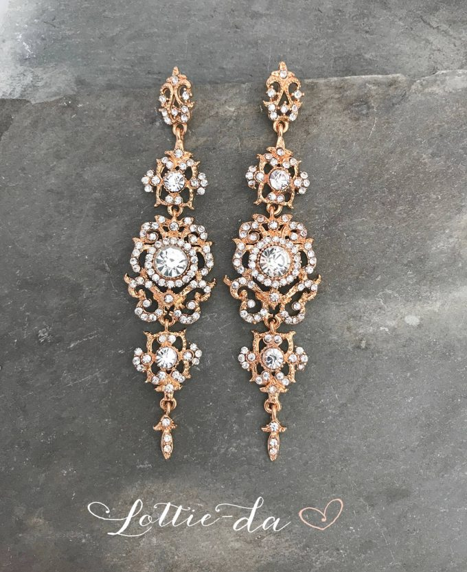bridal chandelier earrings in gold