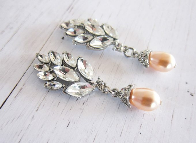 pearl bridal chandelier earrings