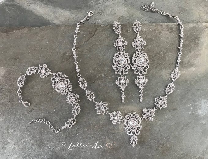 bridal chandelier earrings in silver