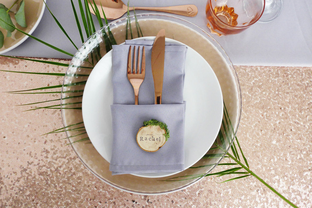 wooden slice place cards