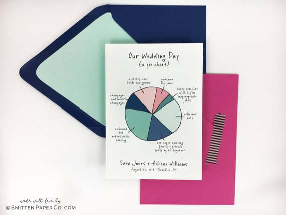 wedding pie chart save the date