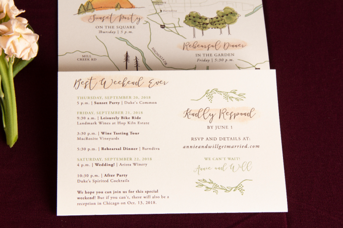 wine country wedding invitations
