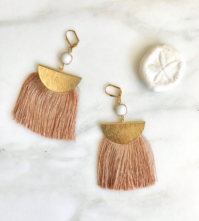 copper tassel earrings