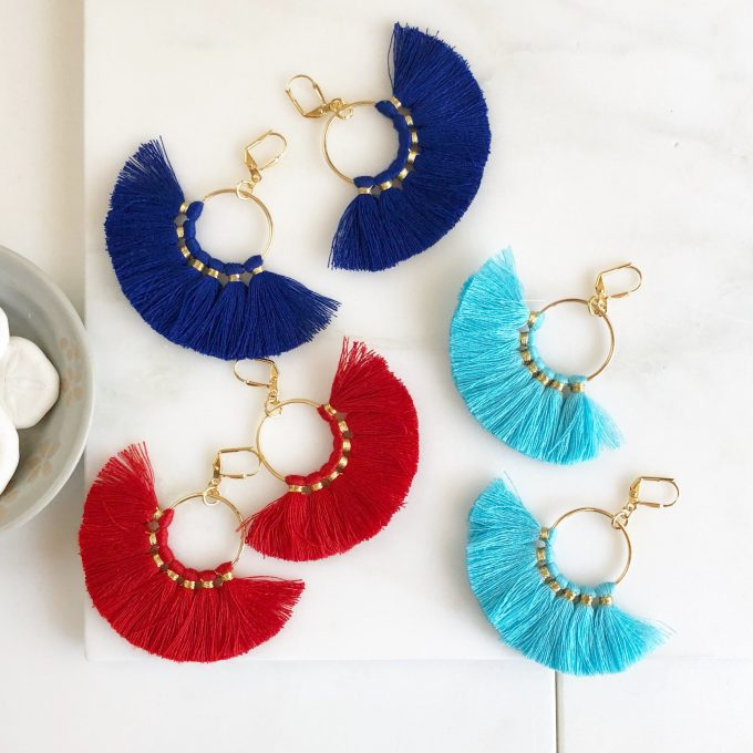 tassel earrings fan style