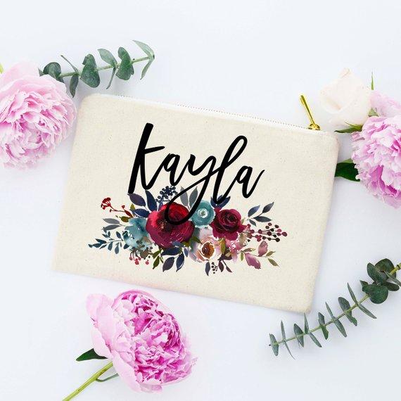 floral bridesmaid makeup bags