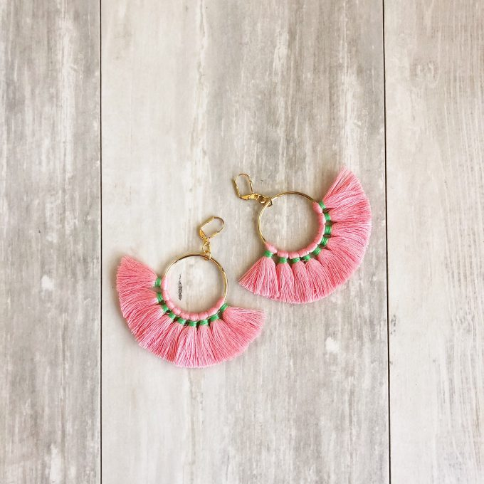 pink and green fringe tassel earrings