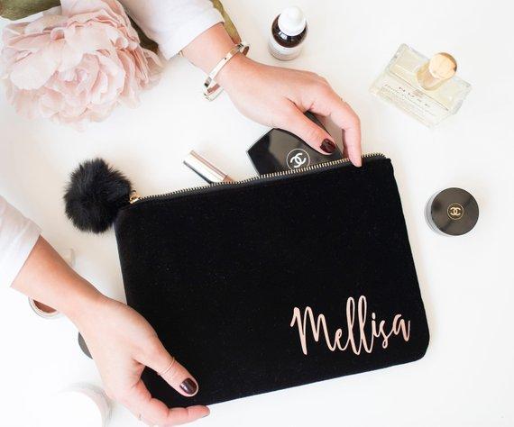 velvet makeup bag