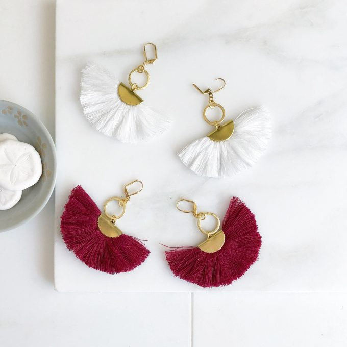 red or white tassel earrings