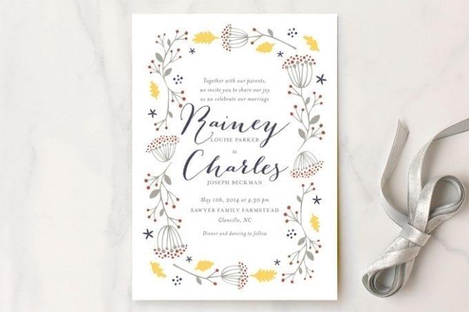 diy wedding invitation with floral design
