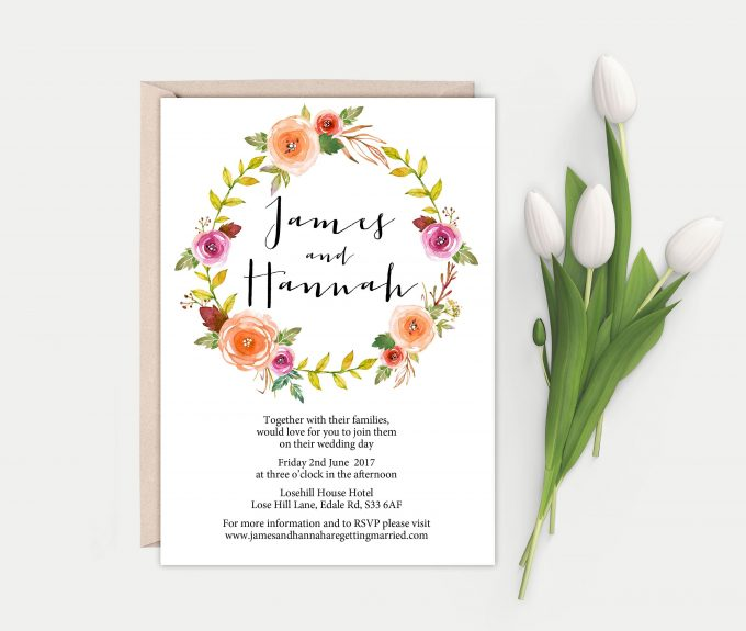 floral greenery invitation