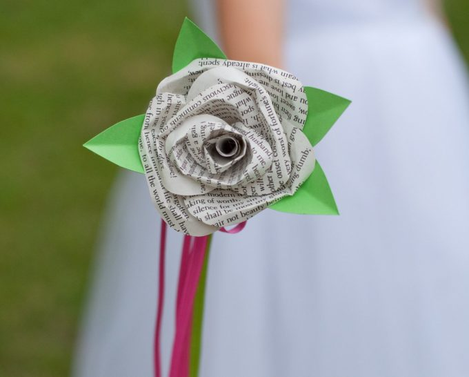 flower girl wand made of paper rose