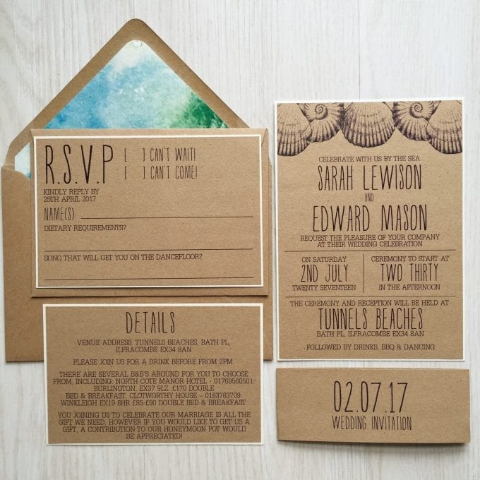 beach seashell wedding invitations