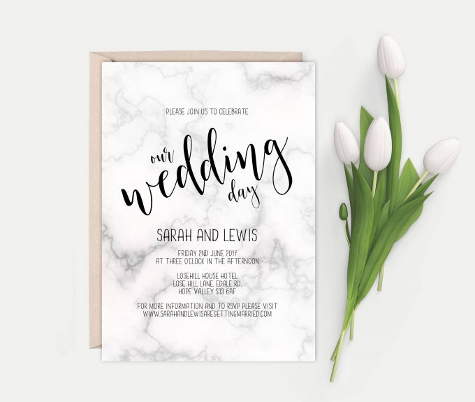 faux marble printable wedding invites template