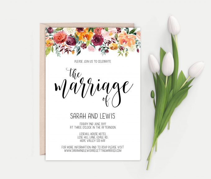 pretty floral invitation