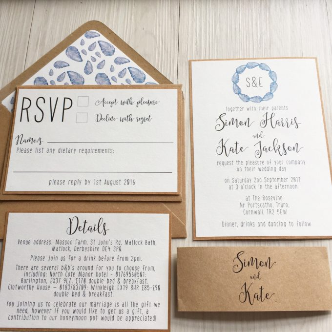 seashell wedding invitations