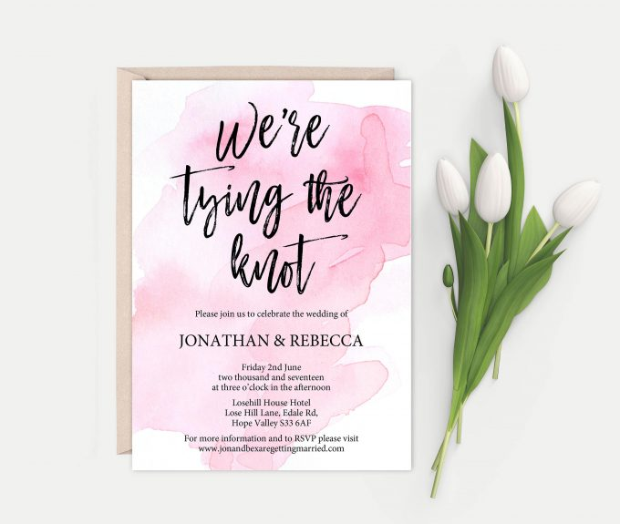 tying the knot printable wedding invitations