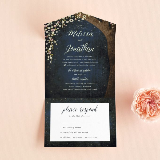 rustic starry night invitations with rsvp postcard attached