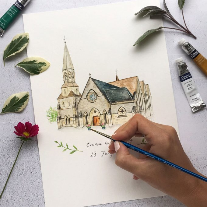custom artwork of wedding venue