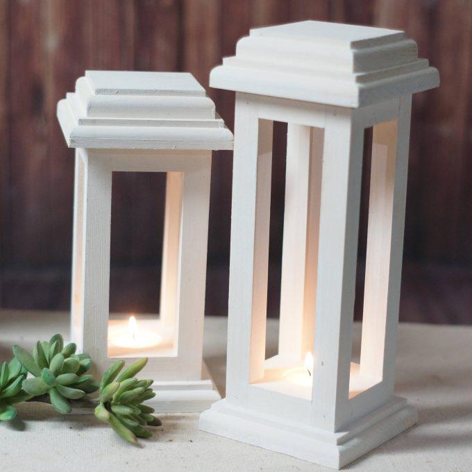 white wood lantern centerpiece