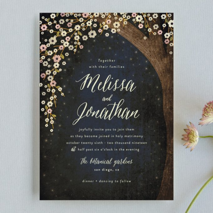 rustic starry night invitations