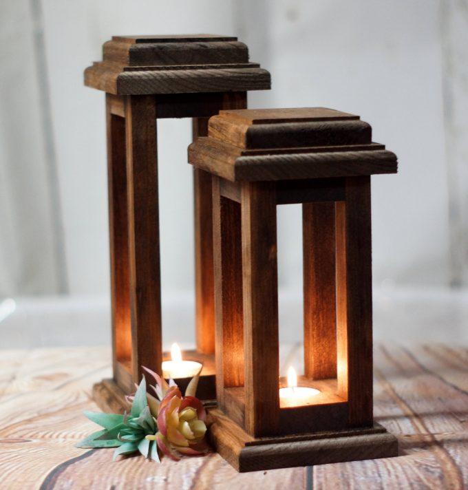 reclaimed wood lanterns made of dark wood