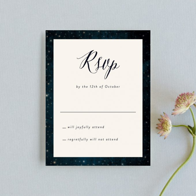 rustic starry night invitations and rsvp cards