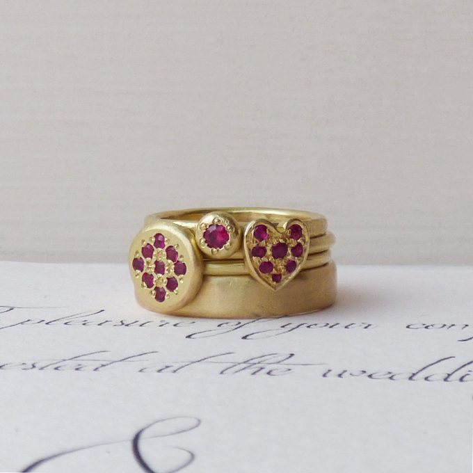 ruby heart ring with stackable rings