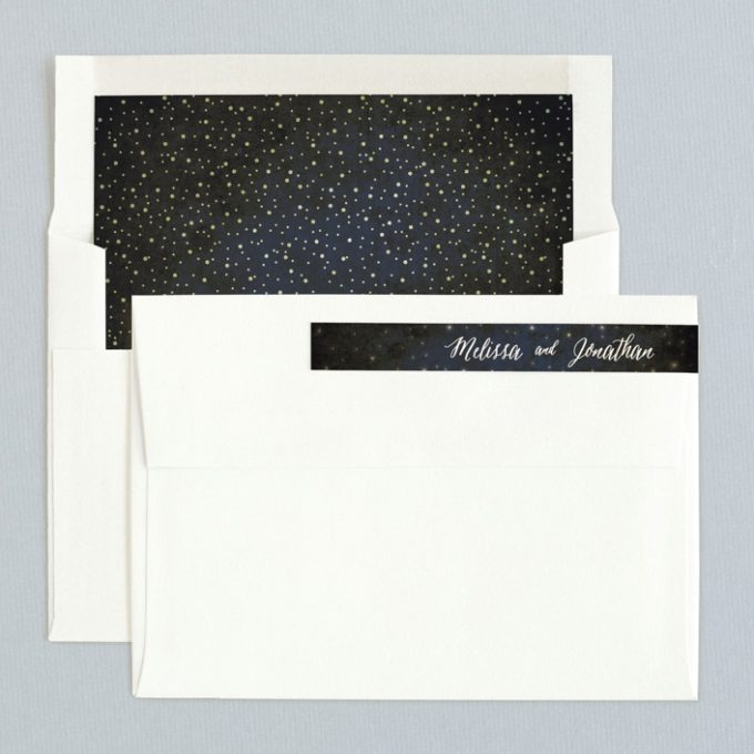 rustic starry night invitations with cool envelope liners
